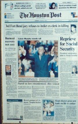 Dr. Garner on front page of Houston Post