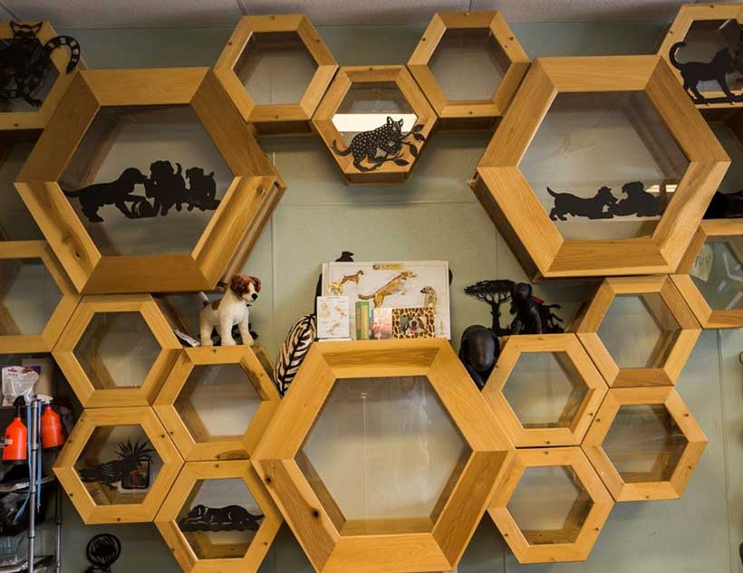 Safari Catacombs, wood-crafted tunnels of connecting hexagons built by Dr. Garner himself